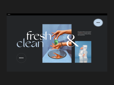 Fresh & Clean Sanitizer blue pastel branding website style type fashion fun 2000s 90s dark stilllife sanitizer covid serif gallery photography editorial ui layout