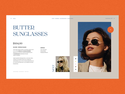 Product Details fashion ui ui design sunglasses ecommerce shopping ux fashion editorial website design ui