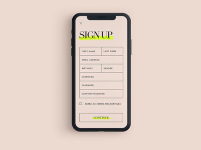 Sign Up signup sign up daily ui minimal ecommerce shopping fashion editorial website design basic ui