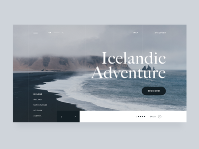 take me back to iceland ❄️ web gl minimal cool blue iceland interaction design adventure travel app travel website editorial daily ui ui