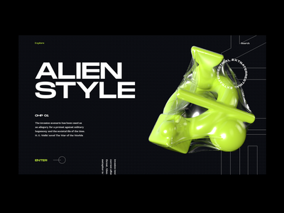 Alien Style typography grotesk bold neon green dark ui editorial illustration cinema4d 3d fashion daily ui ui