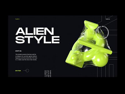 Alien Style typography grotesk bold neon green dark ui editorial illustration cinema4d 3d fashion daily ui ui