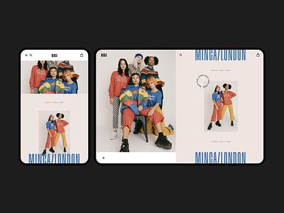 MINGA rainer typography branding retro 90s color daily ui neutral trendy minimal rainbow minga shoping ecommerce editoral fashion ui pride