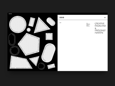 Geometry & Minimalism layout brutalist weird shapes simple black and white serif typography editorial website fashion minimal ui