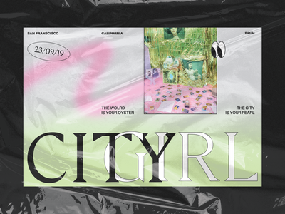 City Girl experiment type green pink weird vapor acidgraphics animation cinema4d typography fashion editorial 3d website ui