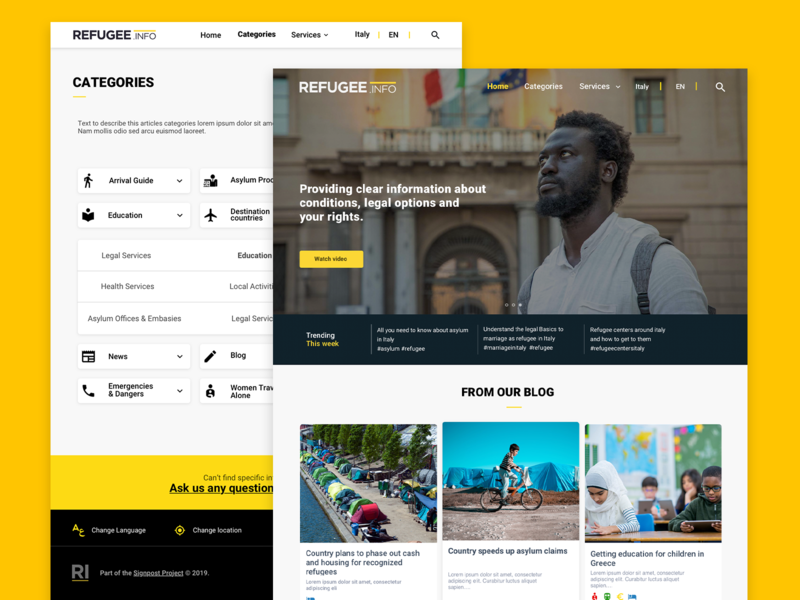 Refugee.info redesign