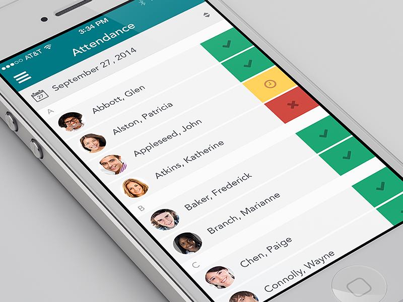 Attendance page - app concept ui app iphone flat ios7 mobile
