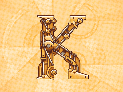 K is for Kinetics movement kinetics czech lines illustrator vector style typography letters abcd lettering alphabet
