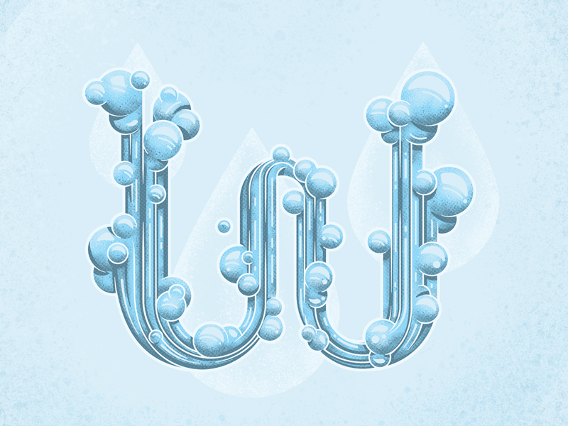 W is for Water flow water abcd letters typography style vector illustrator lines czech transport bridge