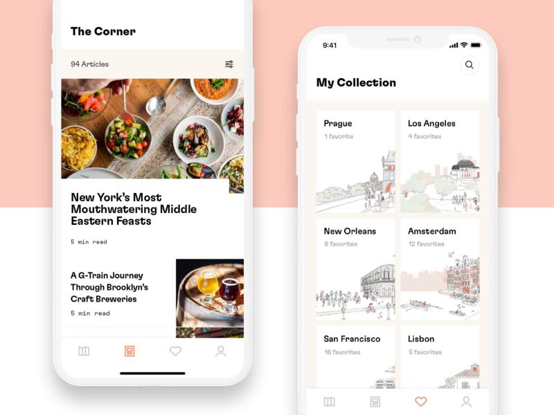 Dorsia App ui design illustration cities branding art direction app mobile