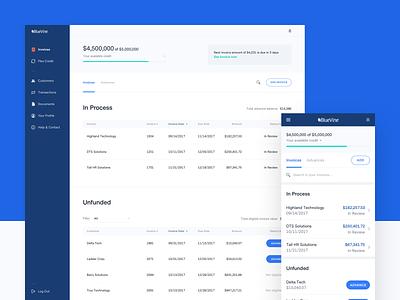 BlueVine Product - Invoice Factoring design responsive mobile web app finance ui  ux product design