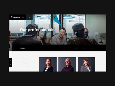 Baker Tilly - Professionals website profile directory interaction animation ui design
