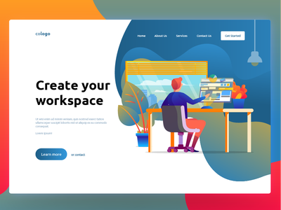 Workplace design concept illustration uiux