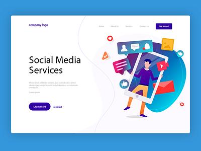 Social Media Concept hero image web design web logo marketing campaign social media advertisement graphics design uiux concept illustration