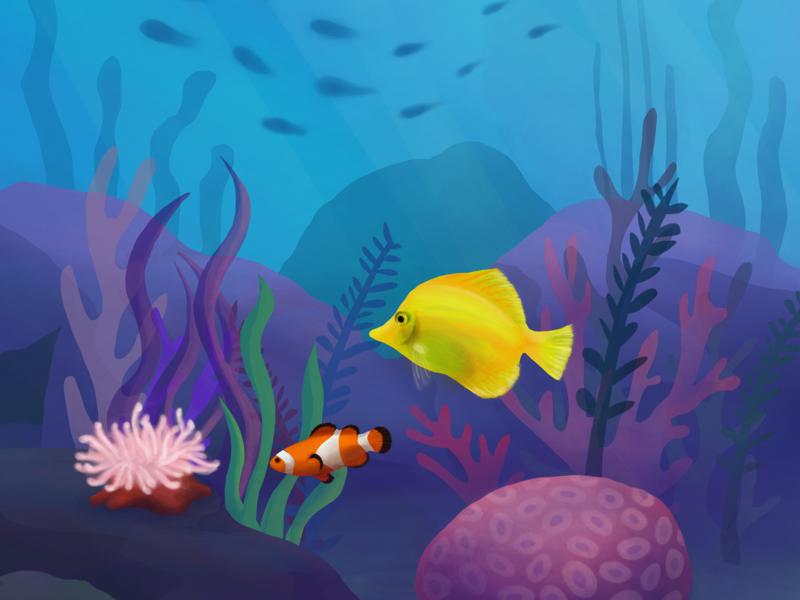 Reef Illustration sea tropical naveon illustration ocean life fish coral coral reef ocean reef