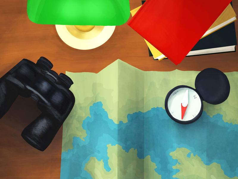 Desk scene: navigation and wayfinding wayfinding desk lamp map binoculars lamp desk compass navigation naveon illustration