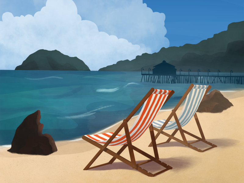 Beach scene clouds pier island summer beach chair beach dock shore ocean illustration naveon
