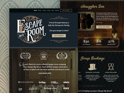 Escape My Room homepage escape my room new orleans escape room photography lettering victorian ornate vintage web design homepage ux ui