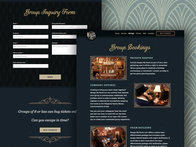 Escape My Room - Group Bookings page art deco web design vintage victorian ux ui photography ornate new orleans form escape room escape my room