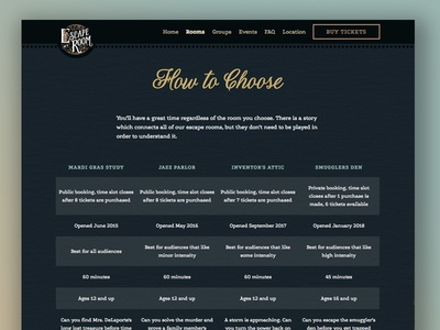 Escape My Room - How to Choose table how to choose escape my room escape room table new orleans ornate photography ui ux vintage web design art deco