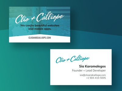 Clio + Calliope business cards greek new orleans logo identity print business card branding