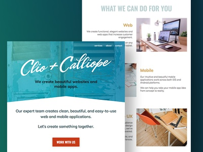 Clio + Calliope - Homepage Design new orleans website web ui ux minimal homepage home