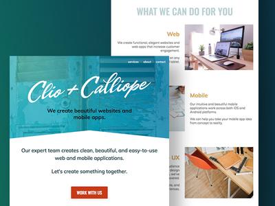 Clio + Calliope - Homepage Design new orleans website web ui ux minimal homepage home