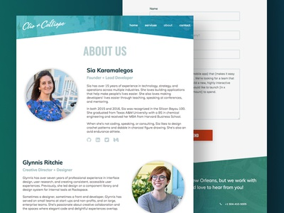 Clio + Calliope - Content Page Design content page contact form bio about page about us minimal ux ui web website new orleans