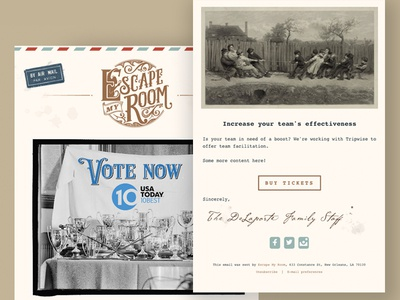 Escape My Room - Email Newsletter template handwriting email email template letter airmail escape my room escape room new orleans ornate snail mail vintage art deco