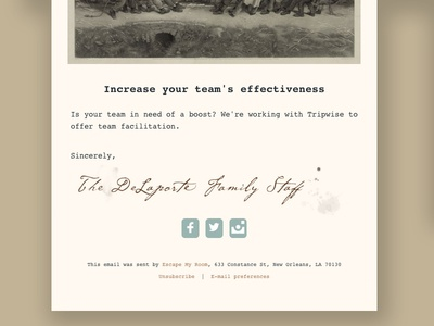 Escape My Room - Email Newsletter template sign off art deco vintage snail mail ornate new orleans escape room escape my room airmail letter email template email handwriting