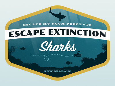 Escape Extinction: Sharks - Combination Mark national park scout patch badge sharks escape extinction new orleans escape room homepage adventure aquarium ocean explore ui ux web design jacques cousteau logo