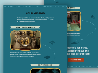 "Escape Extinction: Sharks - ""Your Mission"" web design ux ui sharks ocean new orleans jacques cousteau homepage nautical nautical map treasure map explore escape room escape extinction aquarium adventure"