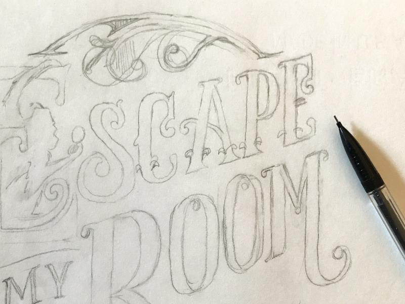 Escape My Room - logo sketch logotype ornament victorian ornate typography pencil process branding lettering logo sketch