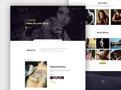 Tattoo Salon Landing Paage pasd website ui ux landing shot best dribbble tatto new salon tattoo