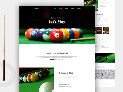 Billiard Landing page page landing cfeative webdesign billiard snooker pool web design ux ui