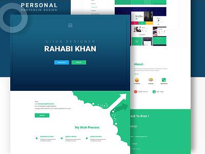 Personal Website workspace website web responsive site portfolio illustration design clean ux ui blue