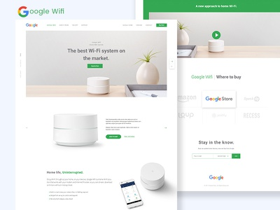 Google Wifi - Landing Page Concept website ux ui home wifi product google shot best dribbble app landing page