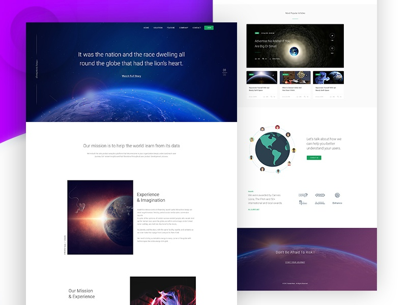 Globe Visualization Landing Page ux ui earth space purple leadership landing isometric grid globe about