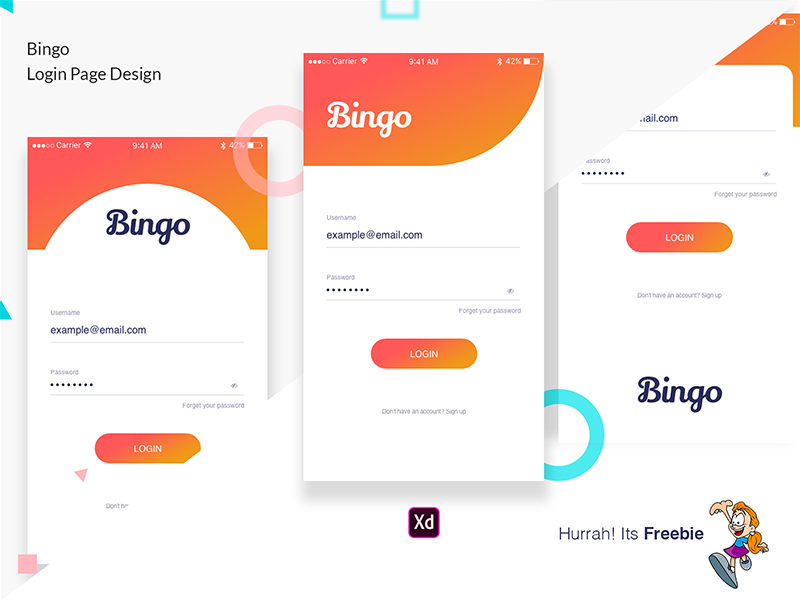 Freebie-Bingo Login Page Design ux freebie free apps login page login typography dribbble minimal creative design ui