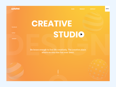 Creative Studio minimal product agency illustration web dribbble landing website design creative template ux ui