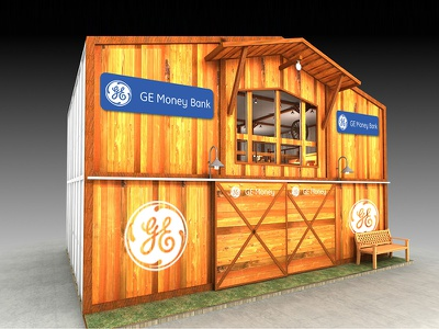 GE Money Bank – expo stand western barn promotion concept design interior stand expo