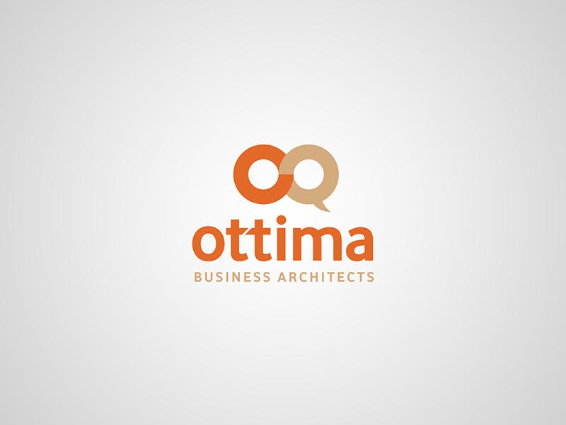 Ottima – logotype simple clear merge typography typo circle orange design logo brand branding