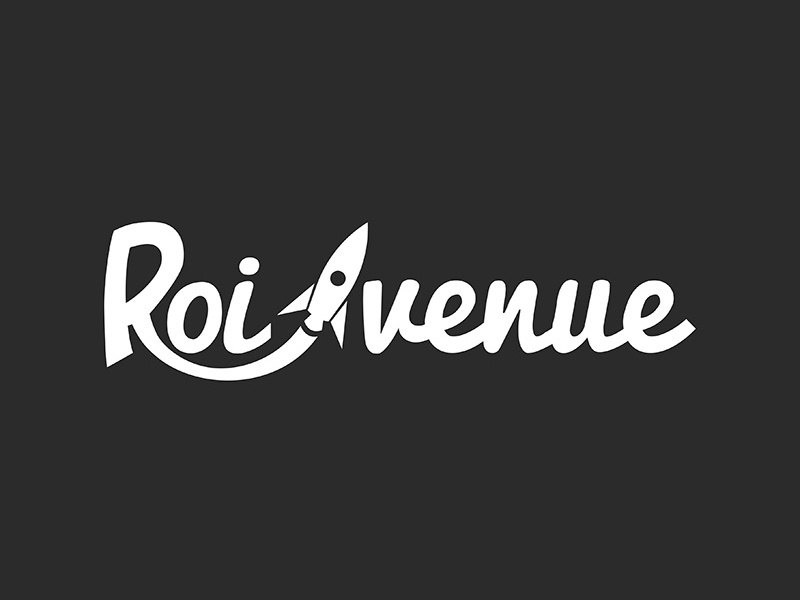 Roi Venue typo write simple clear space draw rocket venue roi logotype