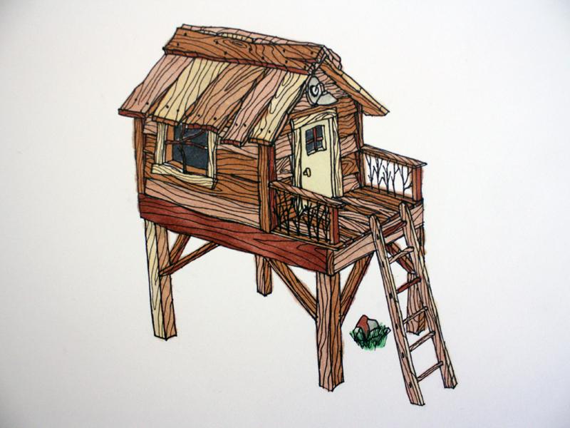 Treehouse - Marker sketch doodle fort treehouse