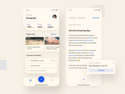 Natural Diary and Assistant App 📓 news feed tasks reminder notification happy news typogaphy dashboad news diary design app ui ux