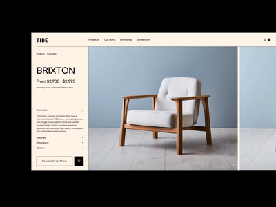 TIDE Concept Product Page 💛 ecommerce shop animation shop design product page design ecommerce design ui ux design shopify store modern shop furniture product page webdesign store design shop ecommerce shopify