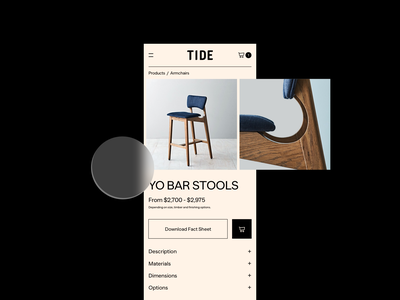 TIDE Concept Product Page Mobile 💛 ecommerce design shopping app furniture tide mobile design ecommerce shop typography shopify ecommerce shop store ui ux