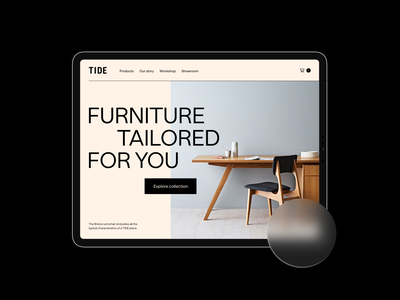TIDE Concept Homepage Tablet 💛 tablet design store design storefront store app stores furniture store hoempage furniture ipad tablet typography shopify shop design ux ui store ecommerce