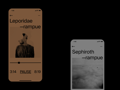 Brutal Player ◼️ suisse music player music app ios app fun rampue typography typogaphy typo brutalism design ux ui