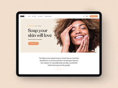 Keika Naturals Landing Page 🧼 soap packaging natural ecommerce design charcoal soap keika design shopify shop typography branding store brand ecommerce